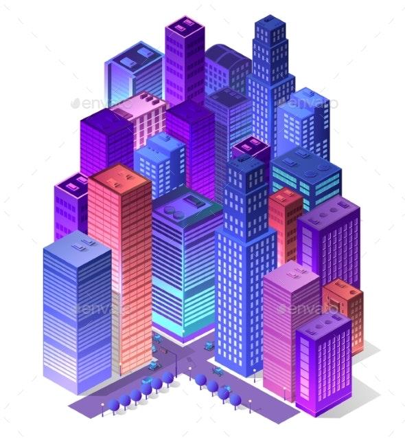Future 3d Futuristic Isometric - Buildings Objects