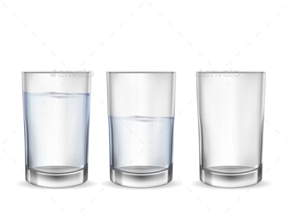 Realistic Empty Glass with Water Cup Set - Food Objects