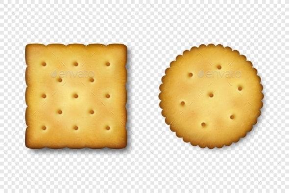 Realistic Vector Crackers - Food Objects