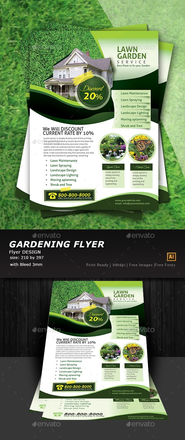 Garden Landscape Flyer Template - Flyers Print Templates
