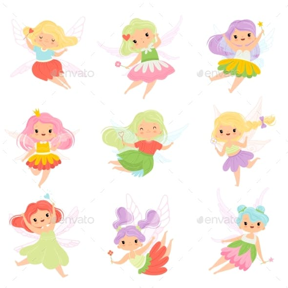 Fairies in Colorful Dresses Set