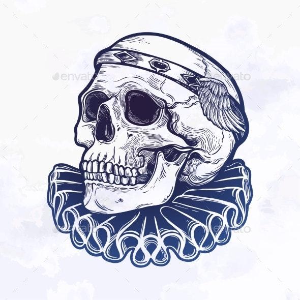 Romantic Skull with Elegant Diadem Ink - Miscellaneous Vectors