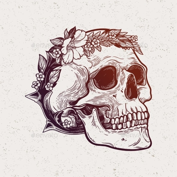 Romantic Skull with Wreath of Flowers and Thorns - Miscellaneous Characters