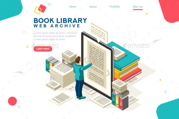 Media Book Library Template Vector - Computers Technology