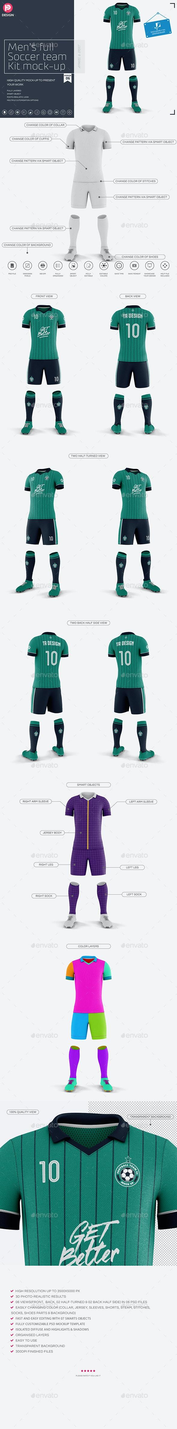 Men's Full Soccer Team Kit Mockup V6 - Miscellaneous Product Mock-Ups