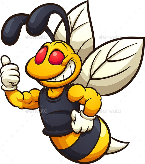 Happy Hornet Mascot - Animals Characters