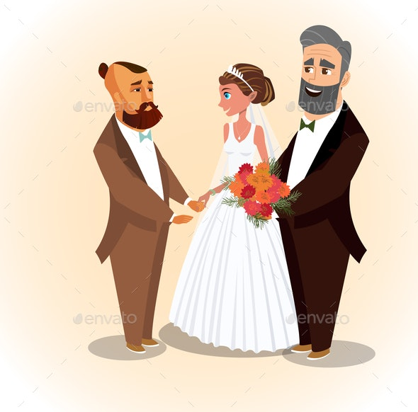 Happy Groom, Bride and Father Vector Illustration - Seasons/Holidays Conceptual