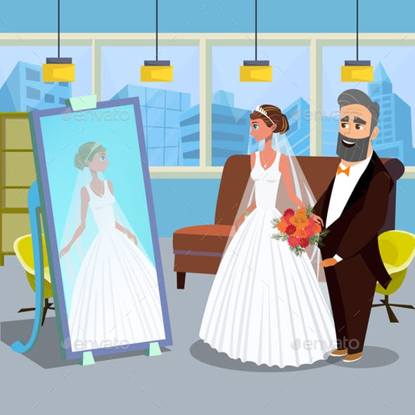 Young Lady in Wedding Dress Vector Illustration