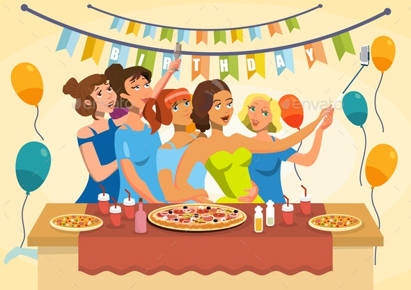 Birthday Party Celebration Vector Illustration - Food Objects
