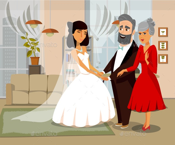 Bride with Parents Cartoon Vector Illustration - People Characters