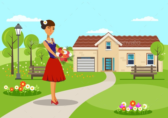 Woman with Bouquet of Asters Vector Illustration - Seasons/Holidays Conceptual