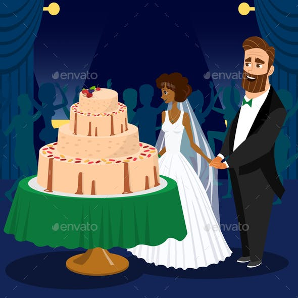 Newlyweds Cutting Wedding Cake Vector Illustration