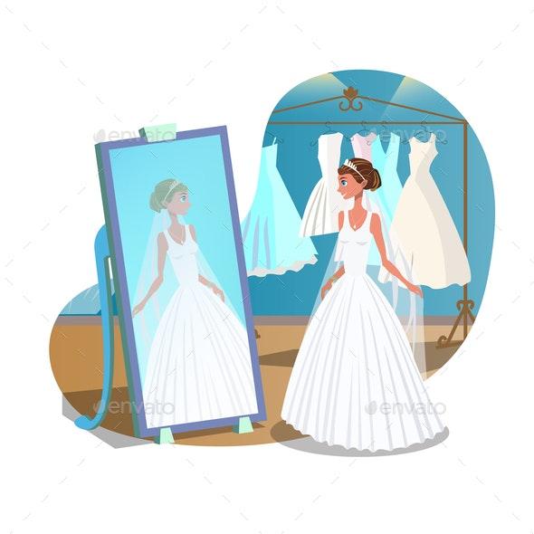Bride in Wedding Salon, Shop Vector Illustration - Seasons/Holidays Conceptual