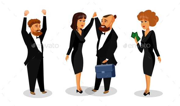 Successful Business Partners Vector Illustration - People Characters
