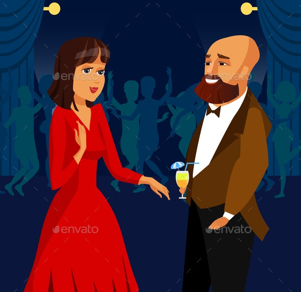 Man and Woman at Party, Event Vector Illustration - People Characters