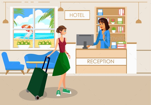Woman with Luggage in Hotel Lobby Vector Drawing - People Characters