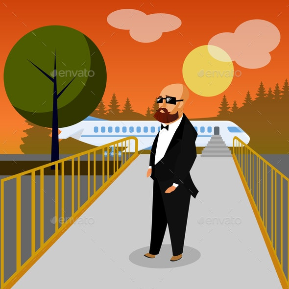 Wealthy Man in Airport Flat Vector Illustration - People Characters