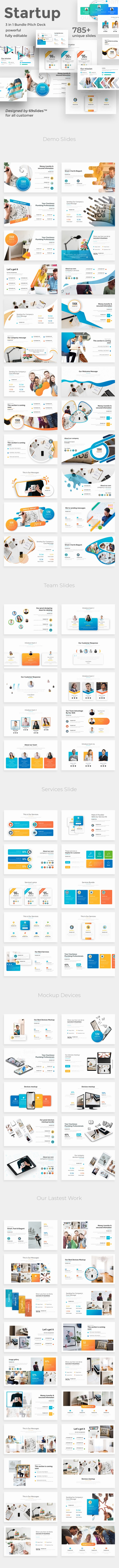 Startup Ideas 3 in 1 Pitch Deck Bundle Google Slide Template - Google Slides Presentation Templates