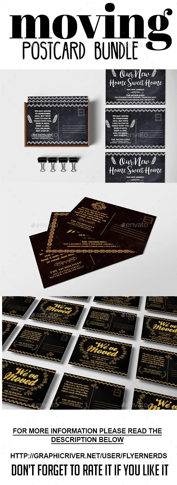 Moving Announcements Card Bundle 02 - Cards & Invites Print Templates