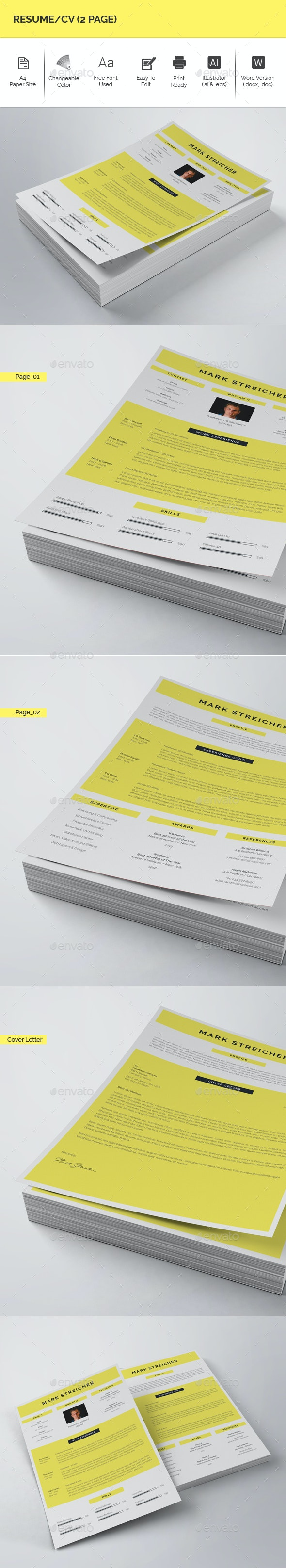 Resume/CV (2 Page) - Resumes Stationery
