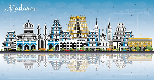 Madurai India City Skyline with Color Buildings - Buildings Objects