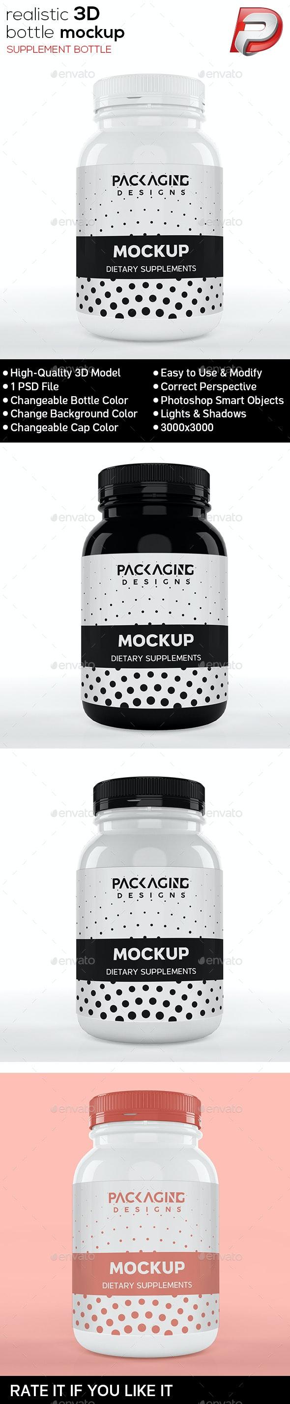 Realistic 3D Supplement Bottle Mock-Up-10 - Packaging Product Mock-Ups