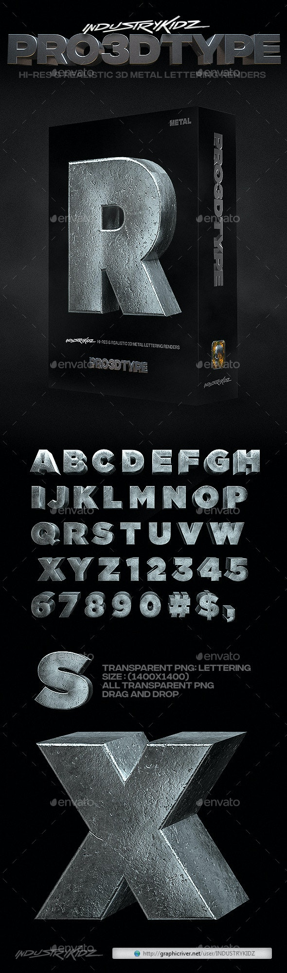 Metal 3D Letters - Text 3D Renders