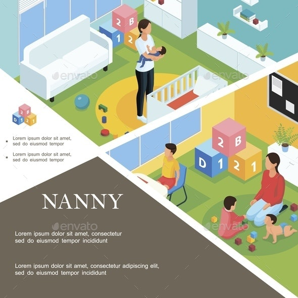 Isometric Nanny Work Template - People Characters