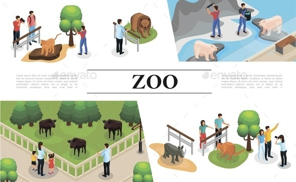 Isometric Zoo Concept - People Characters