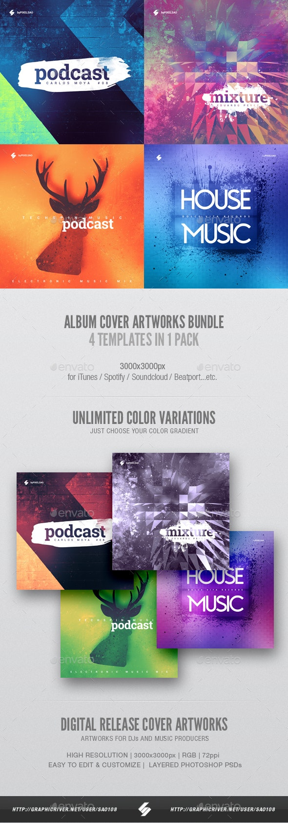 Electronic Music Album Cover Artwork Templates Bundle 6 - Miscellaneous Social Media