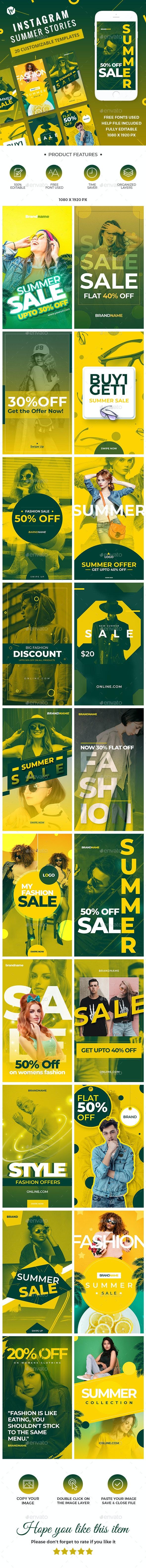 20 Instagram Summer Stories - Social Media Web Elements