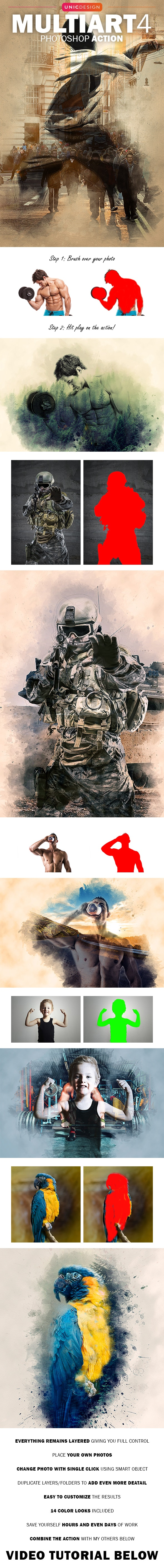 MultiArt 4 Photoshop Action - Photo Effects Actions