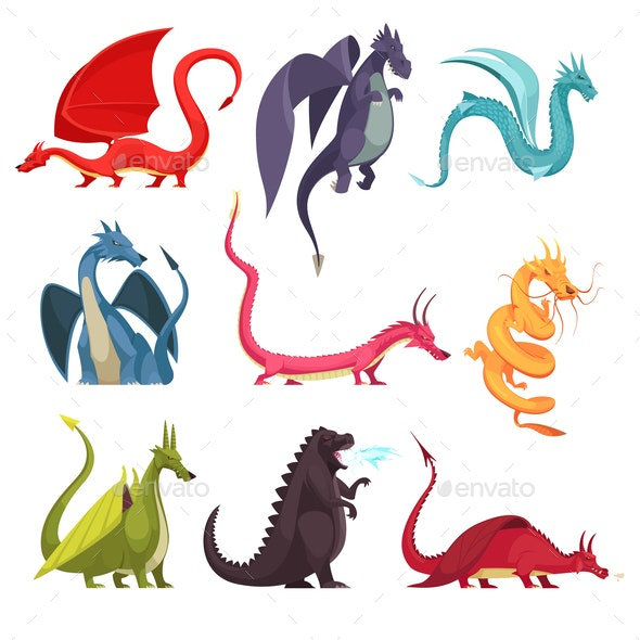 Dragons Monsters Cartoon Set - Miscellaneous Characters