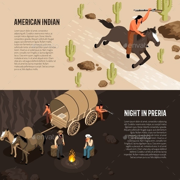 Wild West Isometric Banners - People Characters