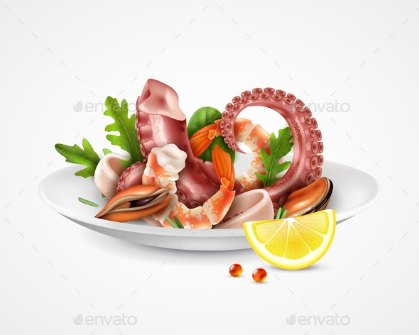 Seafood Cocktail Plate - Food Objects