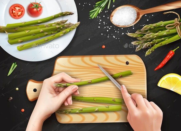 Asparagus Cutting Hands Realistic - Food Objects
