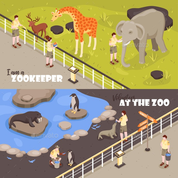 Zoo Horizontal Banners - Animals Characters