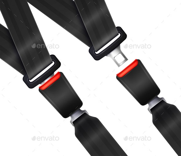 Realistic Transportation Seat Belts Set - Backgrounds Decorative