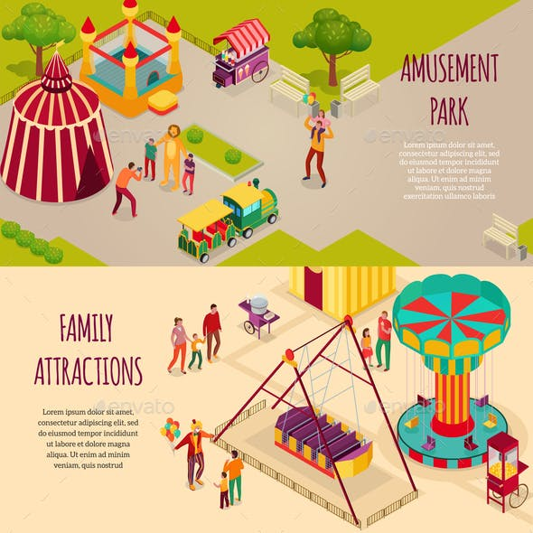 Amusement Park Isometric Banners