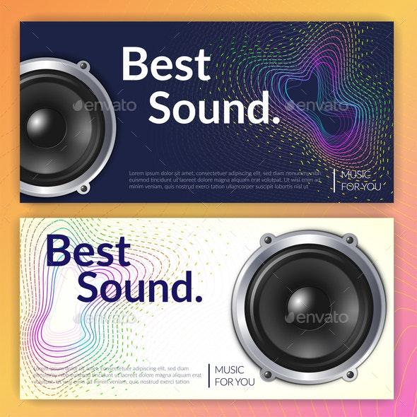 Realistic Audio System Banners - Miscellaneous Vectors