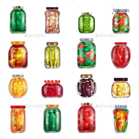 Marinated Pickles Jars Collection - Food Objects