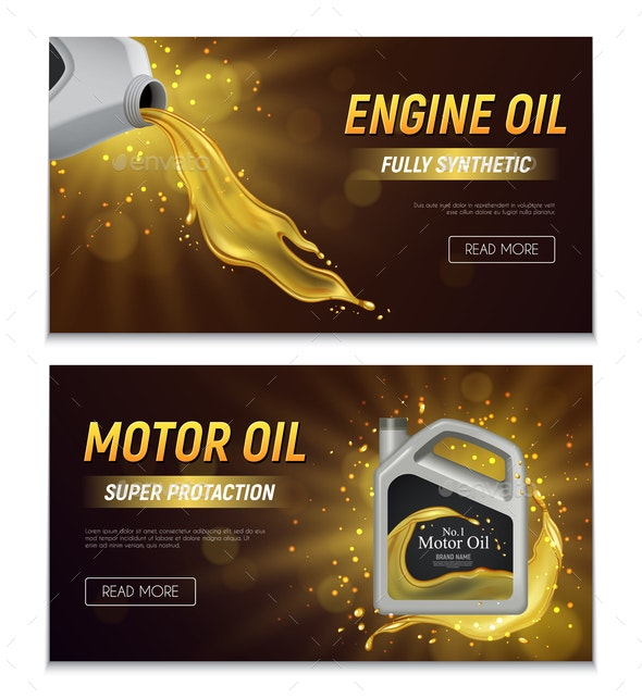 Motor Oil Realistic Banners - Backgrounds Business