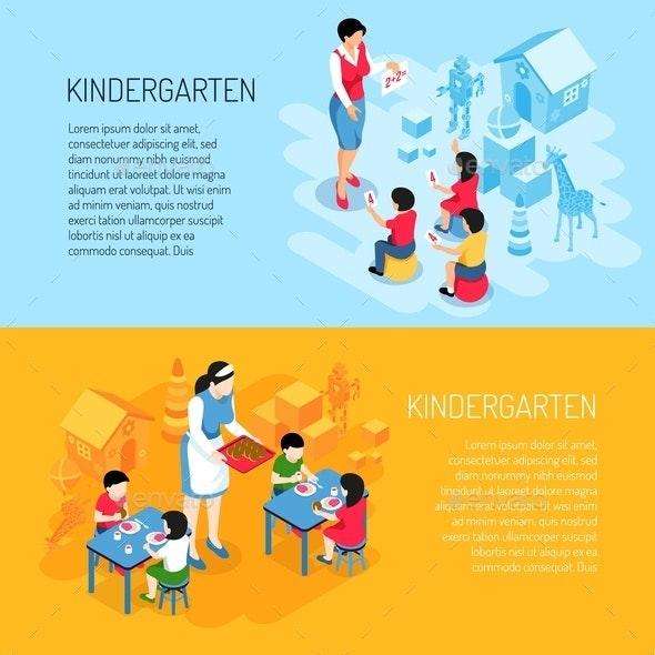 Kindergarten Isometric Banners - People Characters