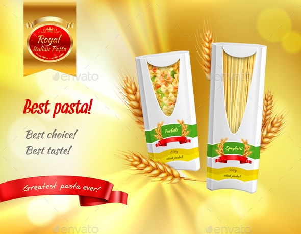 Pasta Advertisement Realistic Banner - Food Objects