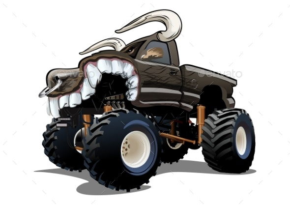 Vector Cartoon Monster Truck Isolated on White - Man-made Objects Objects