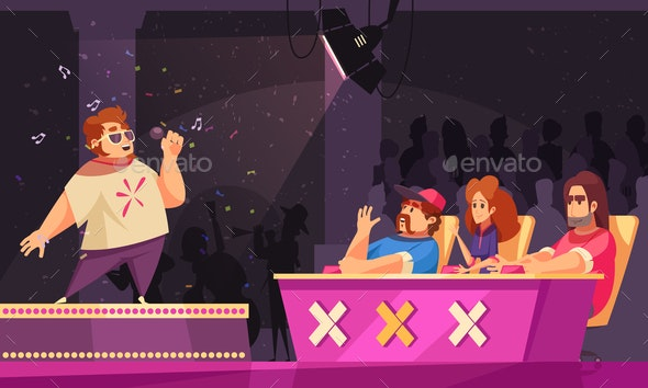 TV Talent Show Illustration - People Characters