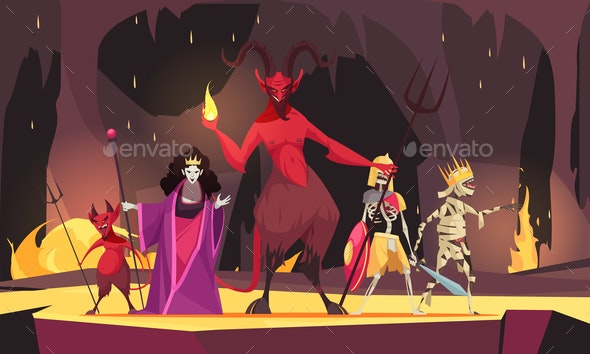 Evil Characters Cartoon Composition - Backgrounds Decorative