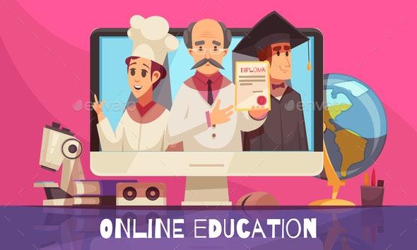 Online Education Cartoon Composition - Miscellaneous Vectors