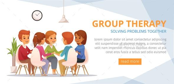 Group Therapy Cartoon Banner - Health/Medicine Conceptual