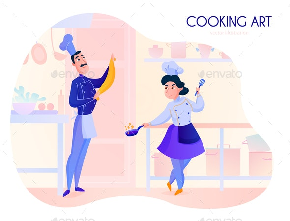Cooks Cartoon Illustration - Food Objects